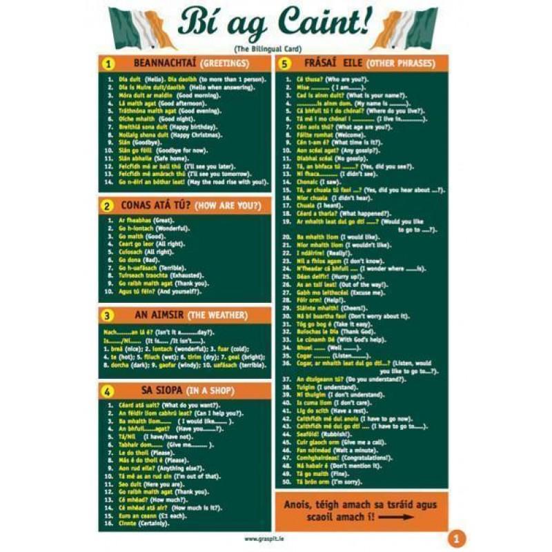 Bi ag Caint - Glance Card
